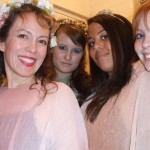 Back stage with fellow fairies in Harrow Opera's 'Cendrillon'
