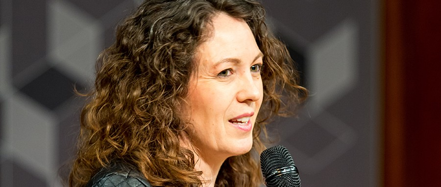 Kate Bellingham with microphone
